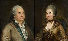 Attribué à Anna Dorothea LISZEWSKA-THERBURSCH (1721-1782)  Monsieur Bouchard et son épouse, née Elisabeth de Morlet Paire de toiles,...