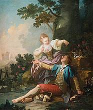 Attribué à Hugues TARAVAL (1729 – 1785) La cueillette des cerises Toile 87 x 74 cm Restaurations anciennes