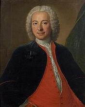 Attribué à Michel Hubert DESCOURS (1707-1775) Portrait d'homme au gilet rouge Toile 81 x 65 cm Accident