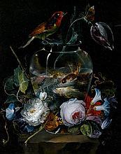 Salvatore GIUSTI (Naples 1773 – après 1845) Aquarium entouré de fleurs sur une margelle Panneau de noyer ( ? ), une planche, non par...