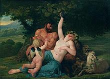 Bénigne GAGNERAUX (Dijon 1756- Florence 1795) Bacchante et satyre avec un cupidon dans un paysage Sur sa toile d'origine 71 x 99 c...