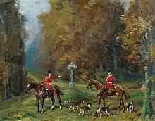 Baron Karl REILLE (Paris 1886 – 1974) Le rendez-vous des chasseurs Carton 18 x 23 cm Signé en bas à gauche : B
