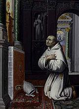 École FRANCAISE vers 1660 Saint Bernard en prière Panneau teint, trois planches, léger renfort et agrandi dans la partie inférieure ...