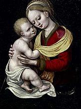 École FLAMANDE vers 1550, entourage de Cornelis Van CLEVE Vierge à l'Enfant Panneau de chêne, une planche, non parqueté 31,5 x 22 cm...