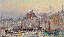 André Hambourg (1909-1999) Le bassin de la Lieutenance (Honfleur) Huile sur toile Signée en bas à gauche Titrée et contresignée des ...