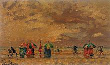 André Hambourg (1909-1999) Pluie sur les planches de Trouville Huile sur toile Signée en bas à gauche  Oil on canvas Signed lower le...