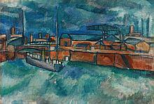Jean Dufy (1888-1964) Le port duHavre, 1905 Huile sur toile marouflée sur panneau Signée et datée