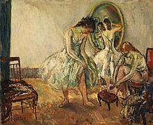Jean-Louis Marcel Cosson (1878-1956) Loge d'actrices Huile sur toile Signée en bas à gauche Oil on canvas Signed lower left 50 x 61...