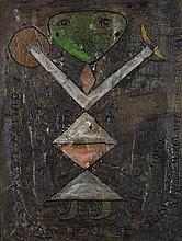 Victor BRAUNER (1903-1966) Nohe Stan, 1945 Cire sur carton Signée, datée et dédicacée