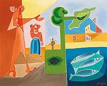 LÉOPOLD SURVAGE (1879-1968) Les présences, 1956 Huile sur toile Signée et datée
