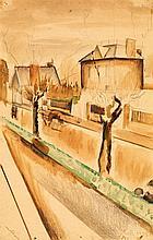 ALFRED RETH (1884-1966) La route, 1915 Aquarelle et crayon sur papier Signée et datée en bas à droite  Watercolour and pencil on pap...