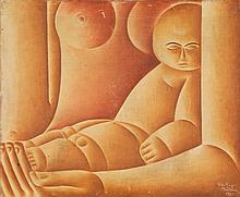 Vicente do Rego Monteiro (1899-1970) Maternité, 1925 Huile sur toile Signée et datée en bas à droite  Oil on canvas Signed and dated...