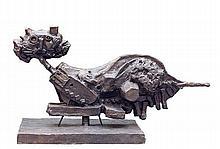 Théo Tobiasse (1927-2012) Le chat couché Épreuve en bronze à patine brune Numérotée4/8 Inscrit Tobiasse Fonderie Fusion  Bronze cas...