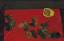 MAX PAPART (Né en 1911) Nature morte au citron, 1953 Huile sur toile Signée et datée