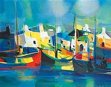 Marcel Mouly (1918-2008) Le port breton aux chalutiers, 1990 Huile sur toile Signée en bas à droite  Oil on canvas Signed lower righ...