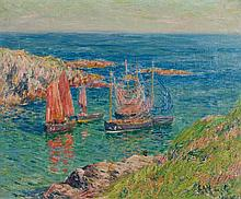 Henry Moret (1856-1913) Bateaux de pêche, 1904 Oil on canvas Signed and dated lower right  - 15 x 18 1/8 in