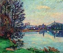 ARMAND GUILLAUMIN (1841-1927) Villeneuve sur Yonne Huile   Signée en bas à gauche Oil on canvas Signed lower left  - 18 1/4...