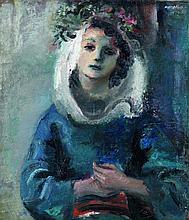 Raymond Kanelba (1897-1960) La fiancée (Hanka), 1933 Oil on canvas Signed upper right  - 28 1/8 x 23 7/8 in