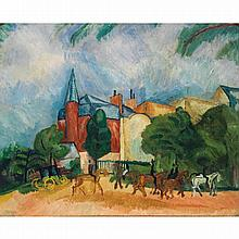 Raoul Dufy (1877 - 1953). Promenade de chevaux. Oil on canvas. 19 11/16 x 23 5/8 in.