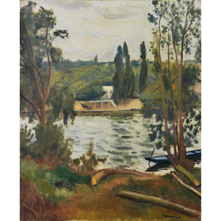 ƒAlbert Marquet (1875-1947). Bords de Seine à Villennes, 1913. Oil on canvas; signed lower right. 24 x 19 11/16 in.