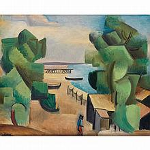 André Lhote (1885 - 1962). Paysage, 1912. Oil on canvas; signed lower left.  14 15/16 x 18 1/8 in.
