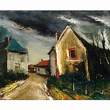 MAURICE DE VLAMINCK (1876-1958). Village de Beauce. Oil on canvas. 23 5/8 x 28 3/4 in.