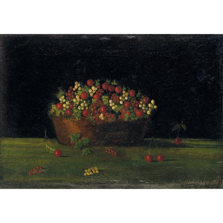 ƒHenri Julien Rousseau dit le Douanier (1844-1910). Corbeille de groseilles et de cerises, 1880. Oil on canvas; signed and dated lower
