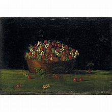 ƒHenri Julien Rousseau dit le Douanier (1844-1910). Corbeille de groseilles et de cerises, 1880. Oil on canvas; signed and dated lower