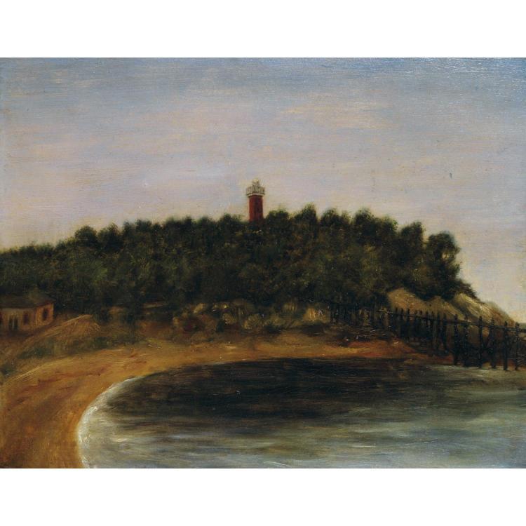 Henri Julien Rousseau dit le Douanier (1844 - 1910). Paysage au phare. Oil on cardboard. 8 11/16 x 10 5/8 in.