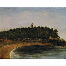 Henri Julien Rousseau dit le Douanier (1844 - 1910). Paysage au phare. Oil on cardboard. 8 11/16 x 10 5/8 in.