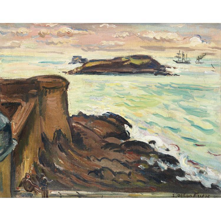Achille-Émile Othon Friesz (1879-1949). les Remparts de Saint-Malo. Oil on canvas; signed lower right. 13 x 16 1/8 in.