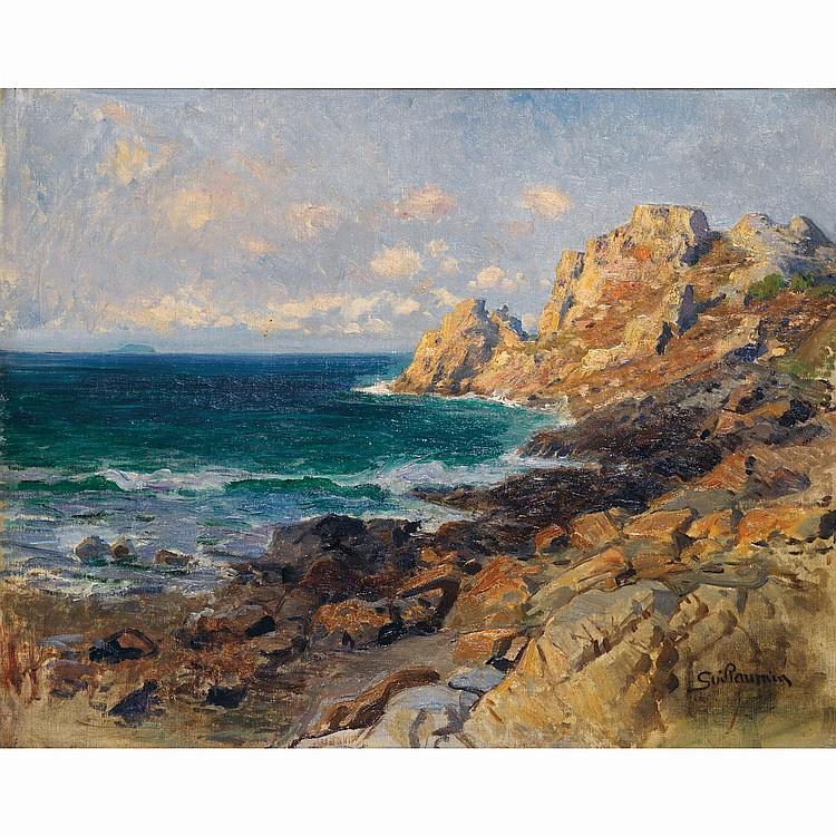 ƒArmand GUILLAUMIN (1841-1927). Vue de Bretagne, rochers en bord de mer. Oil on canvas; signed lower right. 22 7/16 x 18 1/8 in.