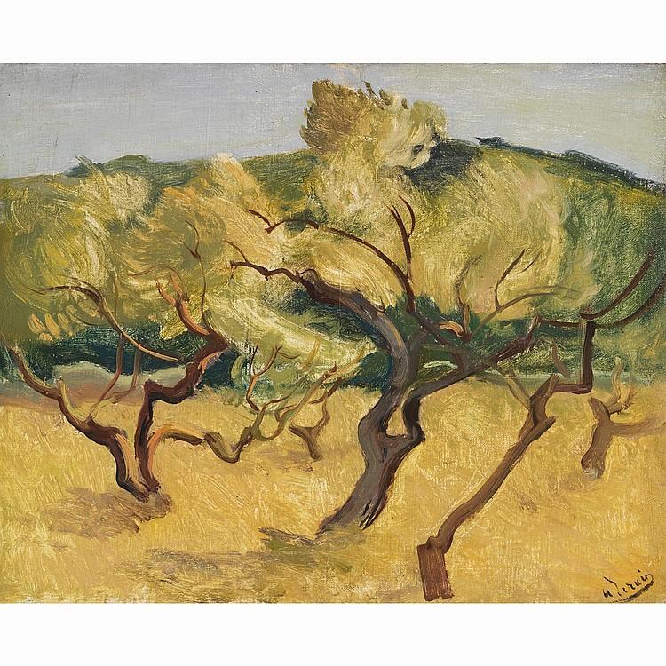 ƒAndré DERAIN (1880-1954). Sous-bois. Huile sur toile. Oil on canvas; signed lower right. 13 x 16 1/8 in.