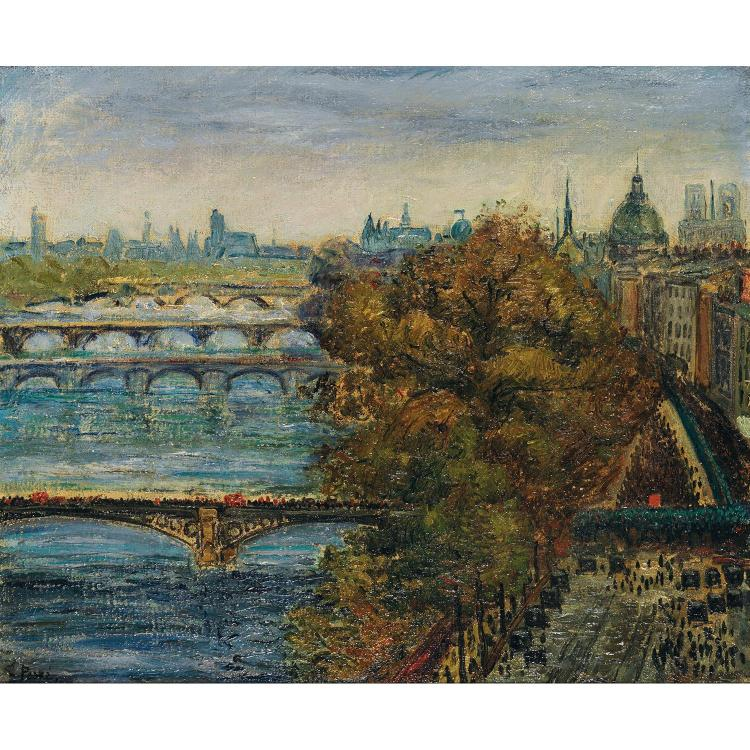 Jean Misceslas Peské (1870-1949). Vue de Paris. Oil on canvas; signed lower left. 20 1/2 x 24 13/16 in.