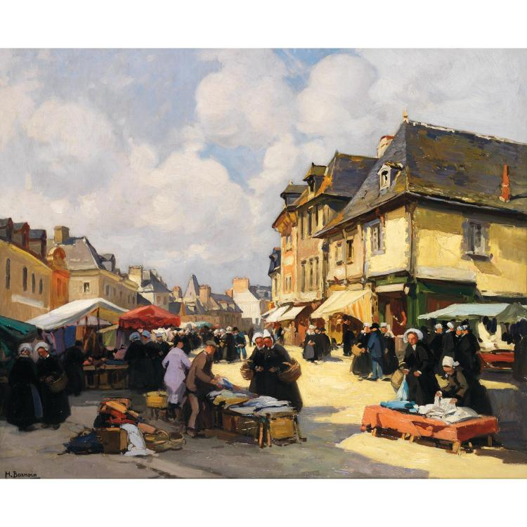 Henri Alphonse Barnoin (1882-1940). Marché de Quimper. Oil on canvas; signed lower left. 23 13/16 x 28 3/4 in.