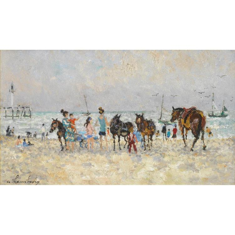 ƒANDRE HAMBOURG (1909-1999). PLAGE ANIMEE A DEAUVILLE. Oil on canvas; signed lower left. 6 1/16 x 10 3/16 in.