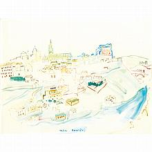 Raoul Dufy (1877 - 1953). Toledo. Watercolour on paper; signed and situated lower middle. 19 1/2 x 25 9/16 in.