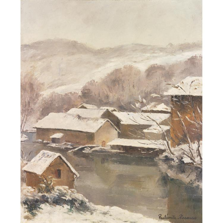 ƒPAUL-ÉMILE PISSARRO (1884-1972). Effet de neige à Uzerche. Oil on canvas; signed lower right. 26 x 21 1/4 in.