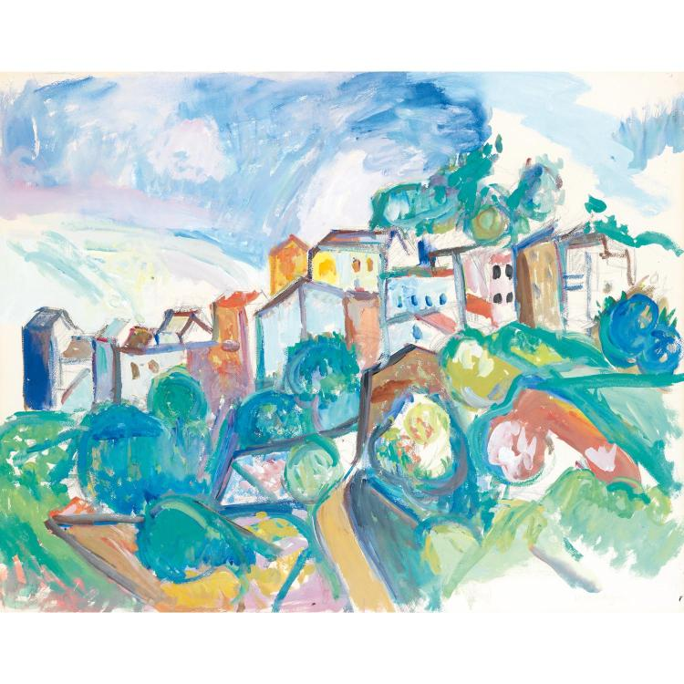 Pinchus Krémègne (1890-1981). Ceret. Gouache on paper; signed lower right.  19 5/16 x 24 7/16 in.