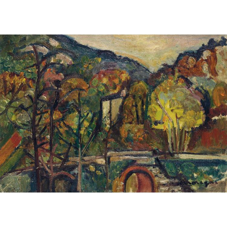 Pinchus Krémègne (1890-1981). Paysage. Oil on canvas; signed lower right. 13 x 18 1/8 in.