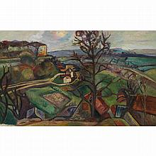 Pinchus Krémègne (1890-1981). Paysage. Oil on canvas; signed lower left. 13 3/8 x 20 7/16 in.