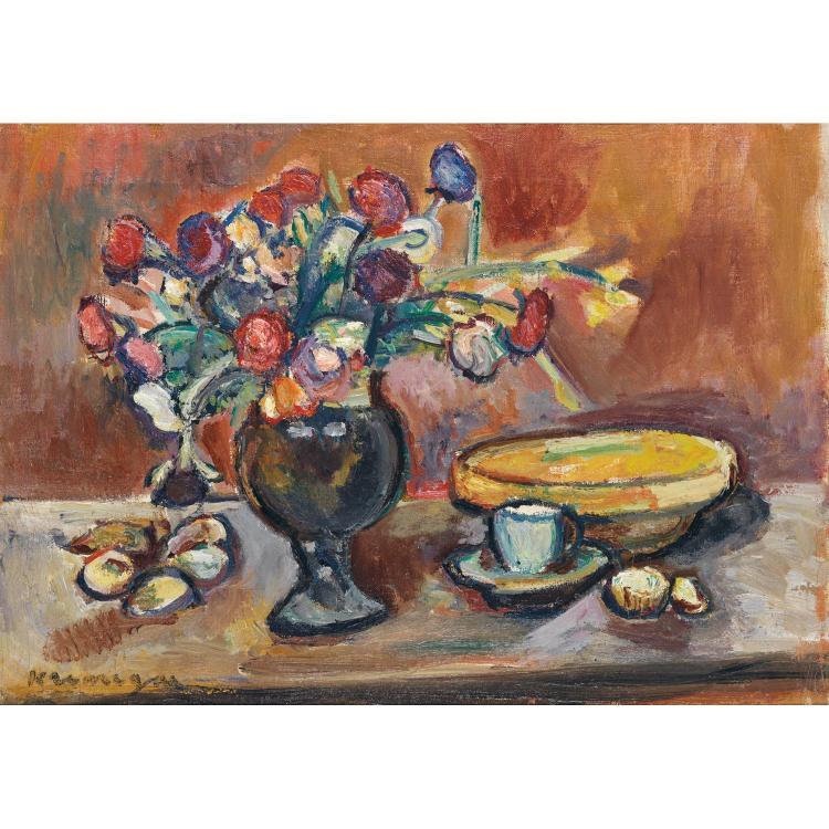 Pinchus Krémègne (1890-1981). Bouquet de fleurs. Oil on canvas; signed lower left. 13 x 18 1/8 in.
