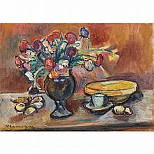 Pinchus Krémègne (1890-1981). Bouquet de fleurs. Oil on canvas; signed lower left. 13 x 18 1/8 in.