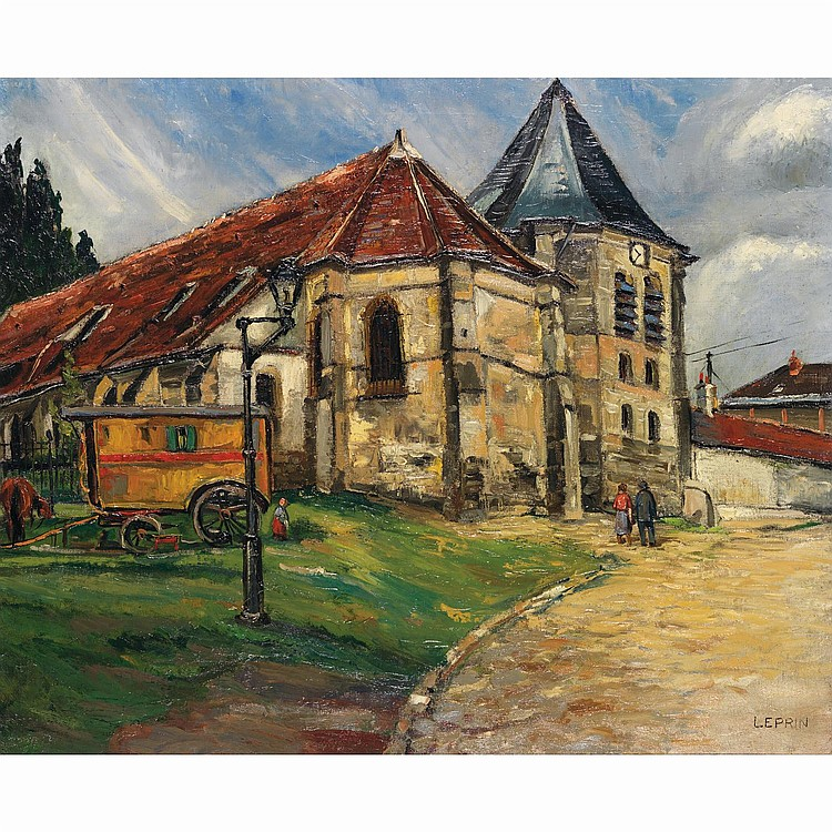 ƒMarcel-François LEPRIN (1891-1933). Eglise avec roulotte. Oil on canvas; signed lower right. 24 x 29 1/8 in.