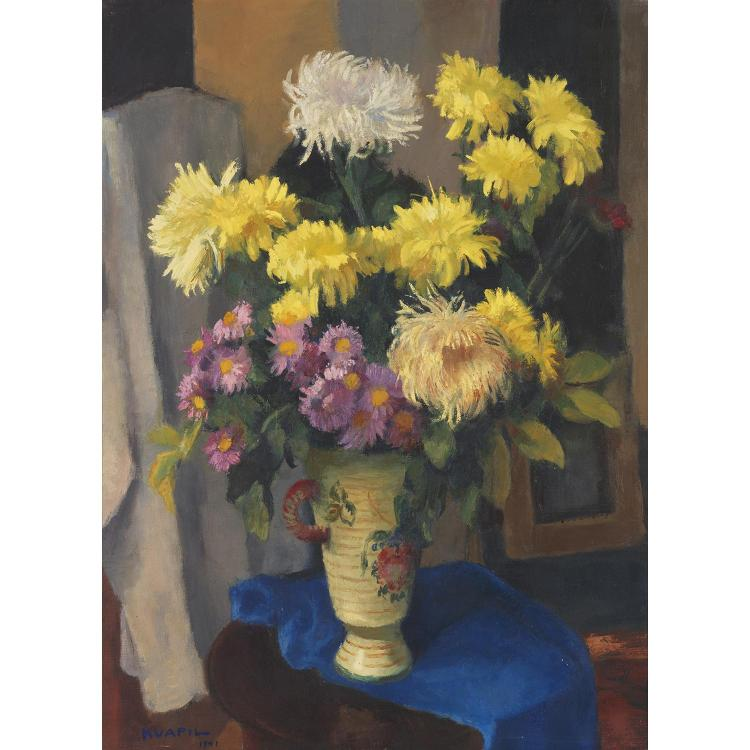 Charles Kvapil (1884-1957). Bouquet de fleurs, 1941. Oil on canvas; signed and dated lower left. 31 7/8 x 25 5/8 in.