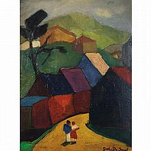 Gustave de Smet (1877-1943). Couple dans un village. Oil on panel; signed lower right. 19 x 13 3/4 in.