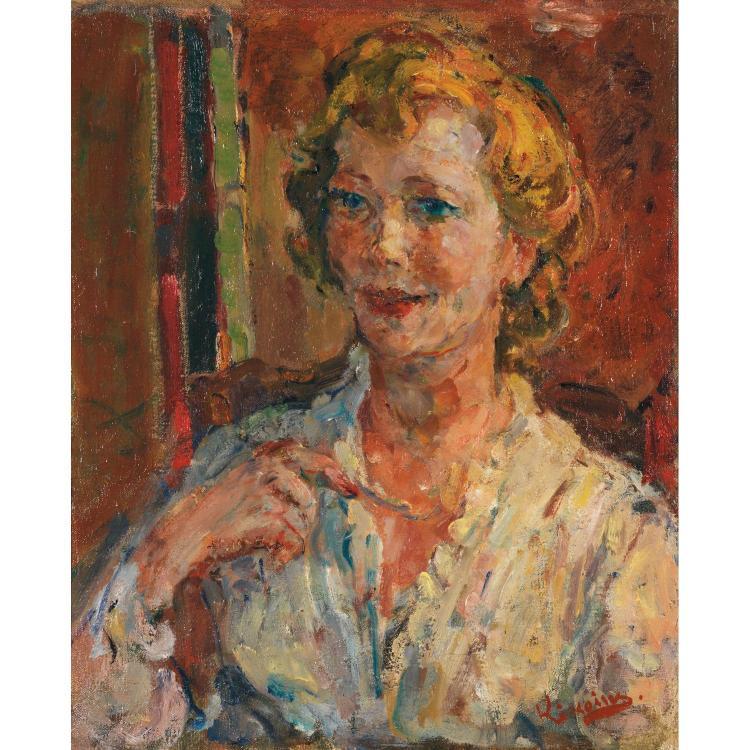 Michel Kikoïne (1892-1968). La comtesse de Lesseps. Oil on canvas; signed lower right. 17 11/16 x 14 9/16 in.