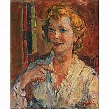 Michel Kikoïne (1892-1968). La comtesse de Lesseps. Oil on canvas; signed lower right. 17 11/16 x 14 9/16 in.