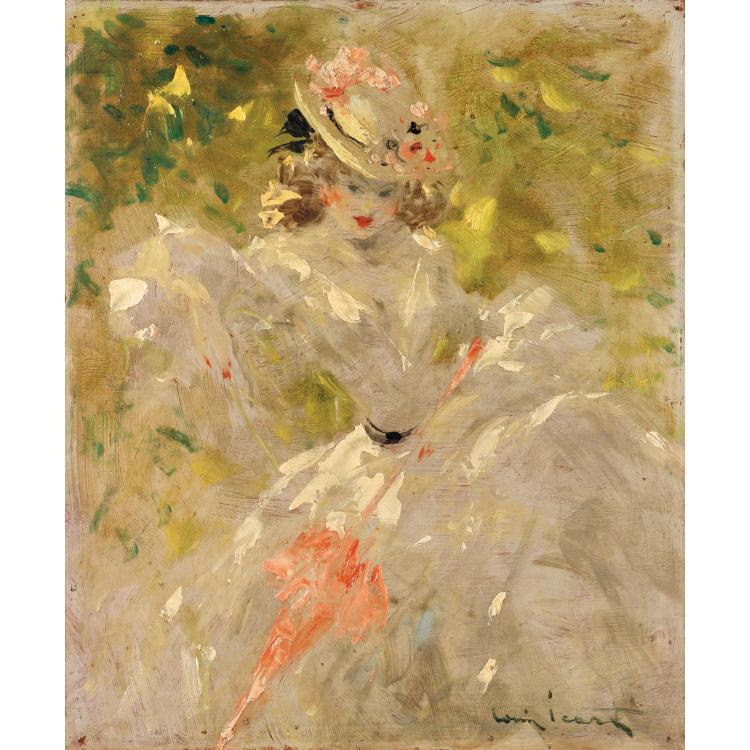 Louis ICART (1888-1950). Dans le parc. Oil on panel; signed lower right. 18 1/8 x 14 15/16 in.