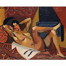ANDRÉ LHOTE (1885-1962). Femme allongée. Oil on canvas; signed upper left. 14 15/16 x 18 1/8 in.